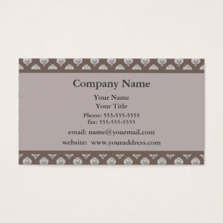 Brown Damask Appointment Reminder Business Card