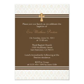 Brown Damask Baptism/Christening Invitation
