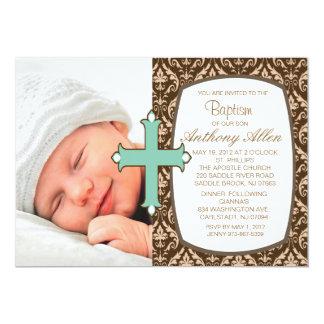"Brown Damask Boys Photo Baptism Invitation 5"" X 7"" Invitation Card"