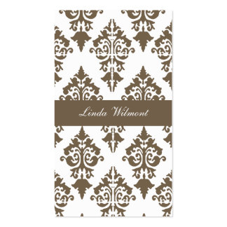 Brown Damask Business Card