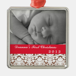 Brown damask classic red band baby's first holiday square metal christmas ornament