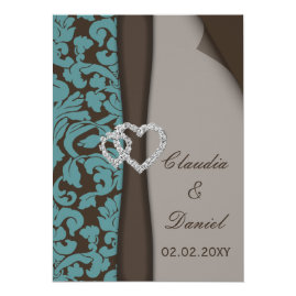 Brown and Teal   Damask Wedding Invitations