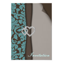 Brown Damask FAUX ribbon diamante design Card