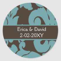 Brown Damask FAUX ribbon diamante design Classic Round Sticker