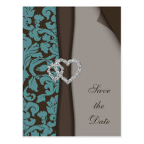 Brown Damask FAUX ribbon diamante design Postcard