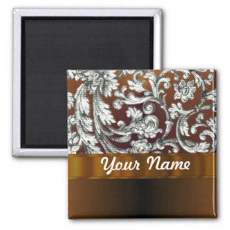 Brown damask floral pattern 2 inch square magnet