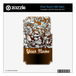 Brown damask floral pattern decals for iPod touch 4G