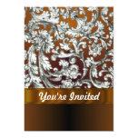 "Brown damask floral pattern 5"" x 7"" invitation card"