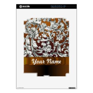Brown damask floral pattern iPad 2 skins