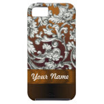 Brown damask floral pattern iPhone 5 covers