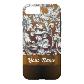 Brown damask floral pattern iPhone 8/7 case