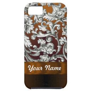 Brown damask floral pattern iPhone SE/5/5s case