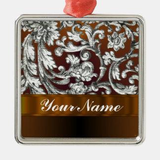 Brown damask floral pattern metal ornament
