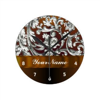 Brown damask floral pattern round clock