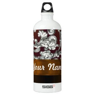 Brown damask floral pattern SIGG traveler 1.0L water bottle