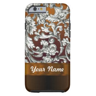 Brown damask floral pattern tough iPhone 6 case