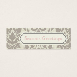 Brown Damask Gift Tags, Profile Cards