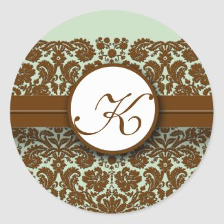 Brown Damask Green Blue -You Choose Color Stickers sticker