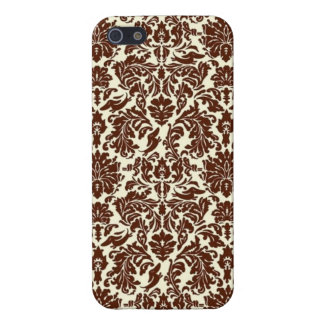 Brown Damask Hidden DOXIES iPhone SE/5/5s Cover