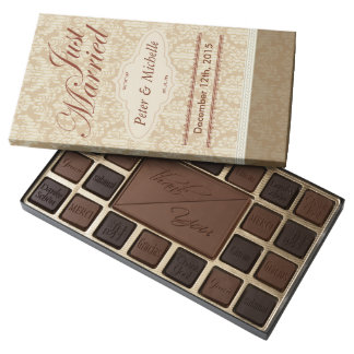 Brown Damask Just Married Chocolates Box 45 Piece Assorted Chocolate Box