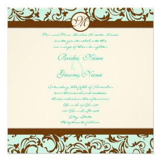 Brown Damask Light Aqua Blue Wedding Invitation