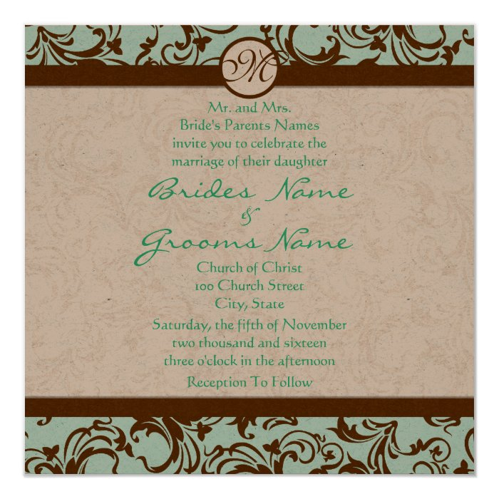 Chocolate and aqua wedding