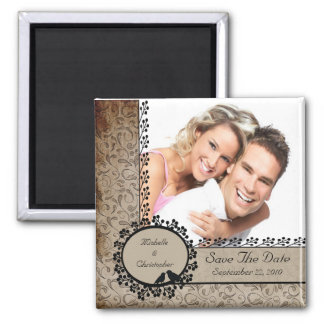 Brown Damask Love Birds Photo Save The Date Magnet