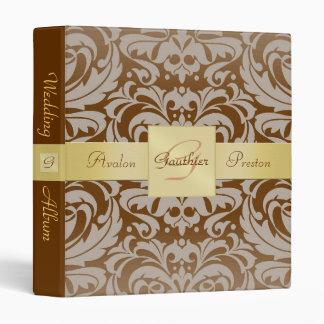 Brown Damask Monogram Gold Ribbon Album Binder