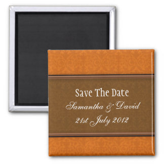 Brown Damask Monogram Save The Date 2 Inch Square Magnet
