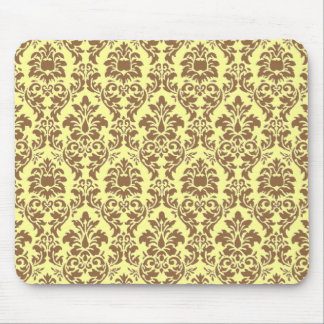Brown Damask Mouse Pad