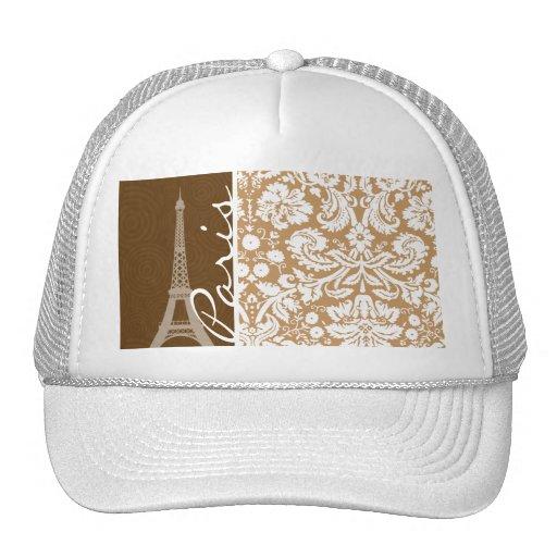 Brown Damask; Paris Hats