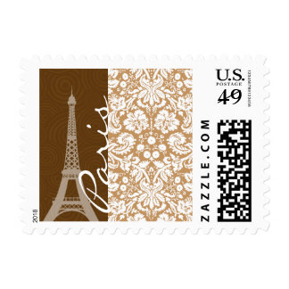 Brown Damask; Paris Postage