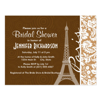 Brown Damask; Paris Postcard