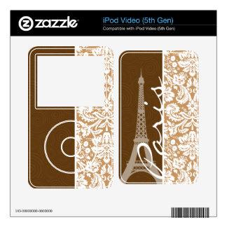 Brown Damask; Paris iPod Video Skins
