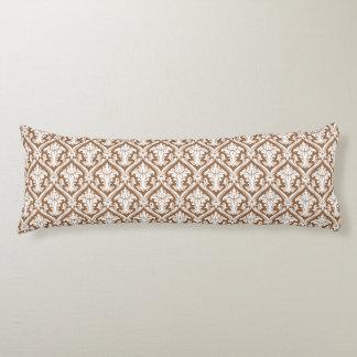 Brown Damask pattern body pillow