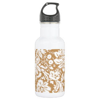 Brown Damask Pattern Stainless Steel Water Bottle