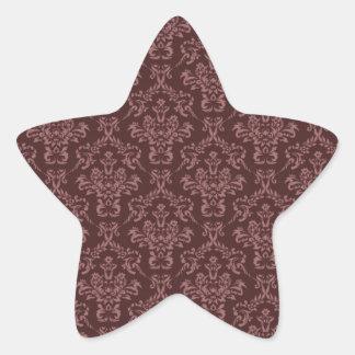 Brown damask pattern star sticker