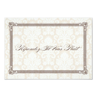 Brown Damask Poster-Style Wedding RSVP Personalized Announcements