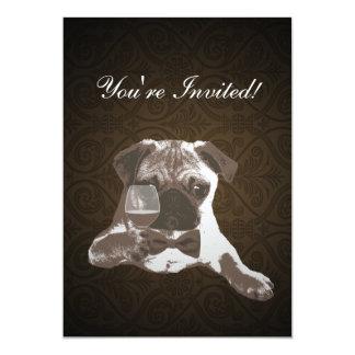 Brown Damask Pug & Fine WIne Birthday Invitation