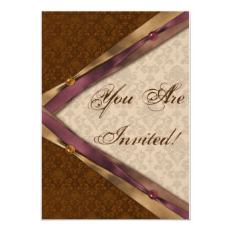 Brown Damask Ribbon and Pearls Card