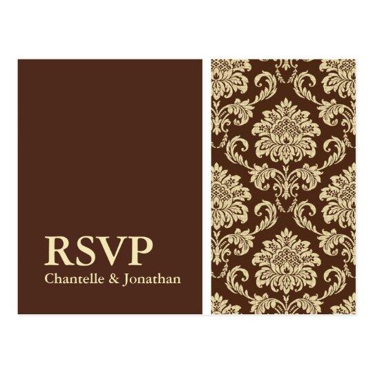 Brown Damask RSVP Postcard