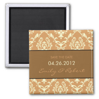 Brown Damask save the date weding magnet
