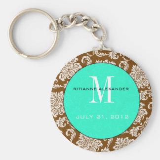 Brown Damask Teal Monogram Wedding Keychain