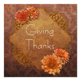 Brown Damask Thanksgiving Dinner Invitations