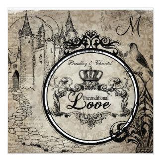 """Brown Damask Unconditional Love Wedding Invite 5.25"""" Square Invitation Card"""