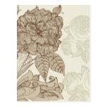 Brown Damask Vintage Floral Post Card
