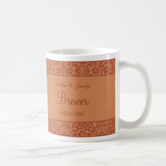 Brown Damask Wedding Gift Mug w/ Name & Quote