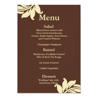 Brown Damask Wedding Menu Card
