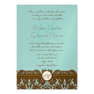 Brown Damask Wedding Monogram Invitations