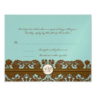 Brown Damask Wedding Monogram Response Card Invites
